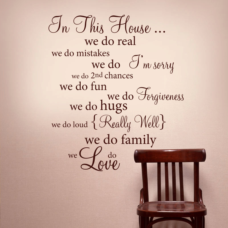 IN THIS HOUSE Wall Words Vinyl Decal Rules Quote   Wall Decor Lettering Art