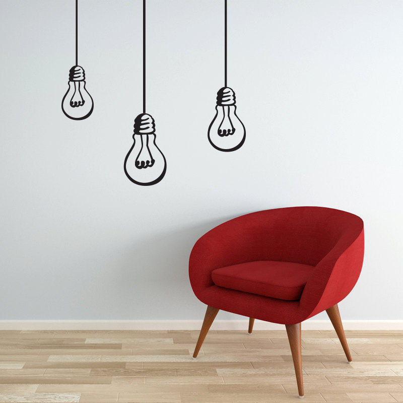 Superb Wall Decal Bulbs Hanging Lights Bulb Decal Vinyl Wall Sticker For Any Rooms  Modern Decor
