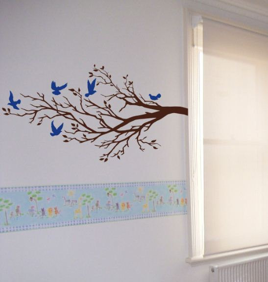 Fantastic Wall Art Vinyl Decal FIVE BIRDS And BRANCH, Tree, Wall, Room Decor  YH39