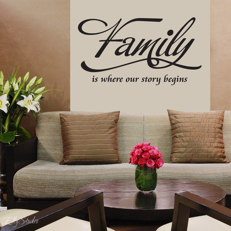 wall décor vinyl lettering decal love quote FAMILY is where our story begins