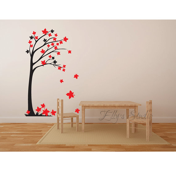 Tree Wall Decor Decal Sticker Wall Art Branches And Leaves Four ...