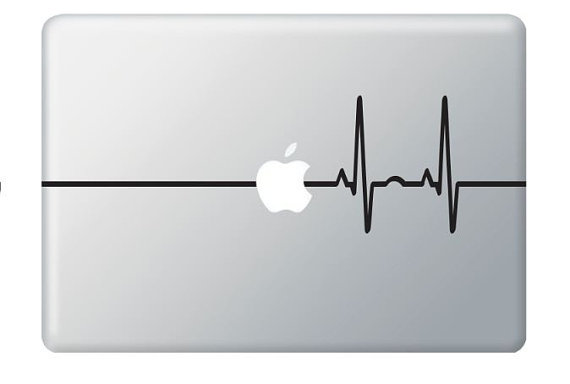 Beat Heart Line Apple - Stickers Macbook, Laptop, IPad Love Decals - Buy 2 get 1 Free