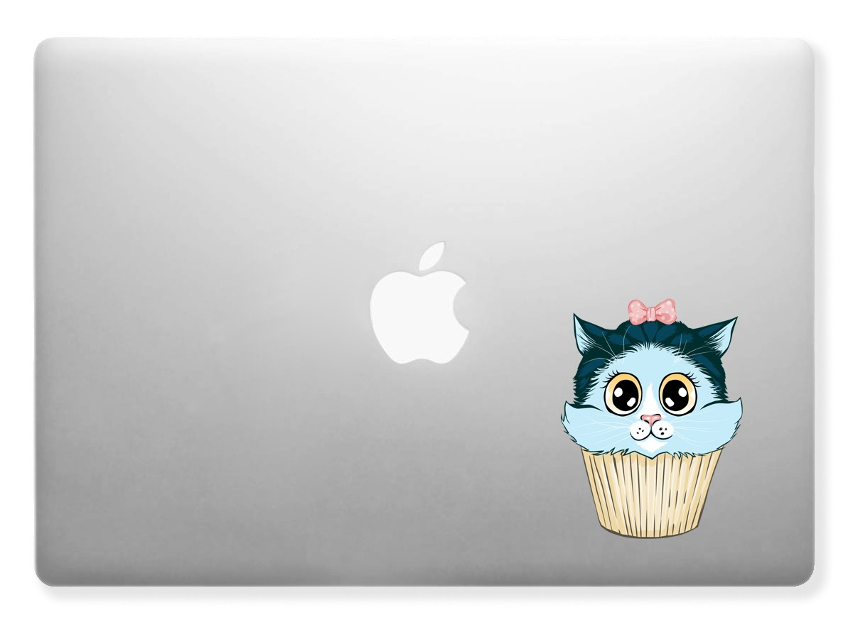 Kitty Cake, Cupcake, Cat Decal Sticker Kids, Nursery Full color for Apple, Macbook