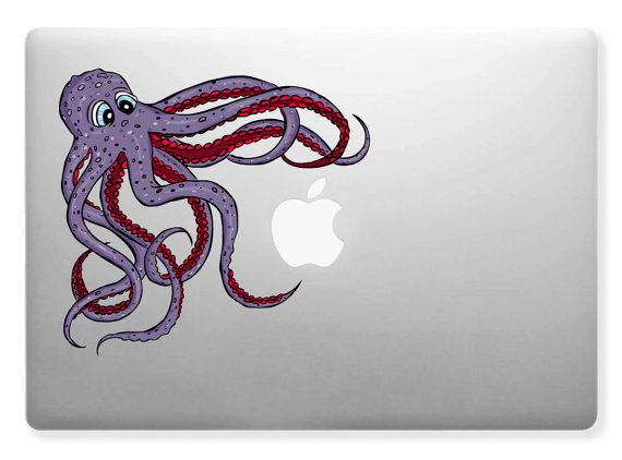 Cute friendly octopus squid sea design for apple mac laptops vinyl sticker