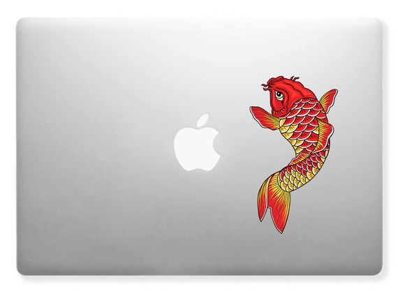 Koi fish design for apple maclaptops vinyl skin decal sticker full color