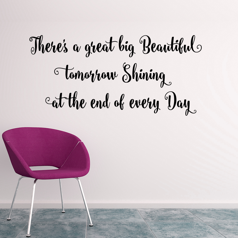 Wall Decal Quotes   There`s A Great Big Beautiful...art Quote Sticker, Home  Decoration For Wall, Vinyl Quote Decals, Art Design Vinyl