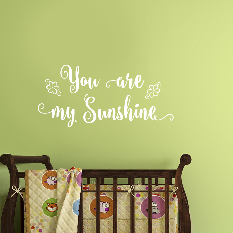 Wall Decal Quotes - You are my Sunshine..vinyl decal for baby, nursery room stickers, kids art stickers, design Baby decals