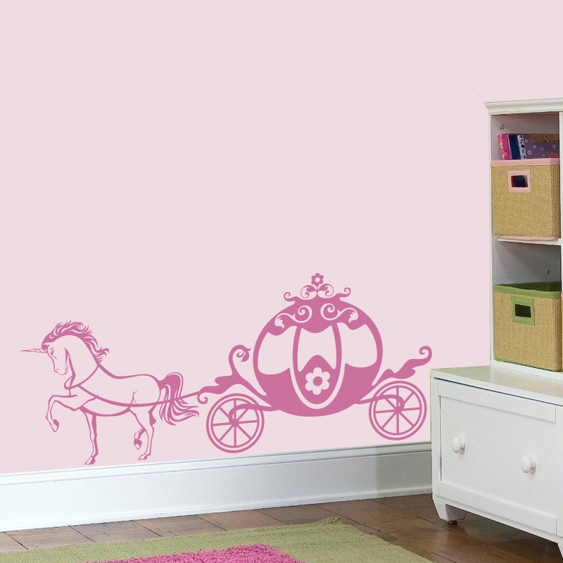 Cute Pink Chariot Princess Wall Decal Unicorn Girly Vinyl Sticker - Cute custom vinyl stickers   for business