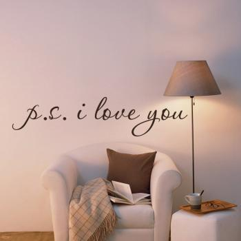 P.S. I LOVE YOU .. Wall Vinyl Word Decal Stickers - Lettering for Bedroom Walls