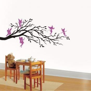 Wall Art Vinyl Decal Fantasy FIVE FAIRIES And BRANCH, Nursery, Kids Room