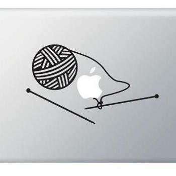 Knitting, Knit Needles Stickers Decal for Macbook, Macbook Pro, IPad and Laptops