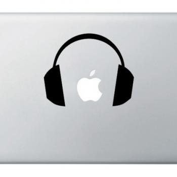 Ear DJ Headphones - Mac Laptop Notebook Decal Sticker Skin Cover - Music Animal
