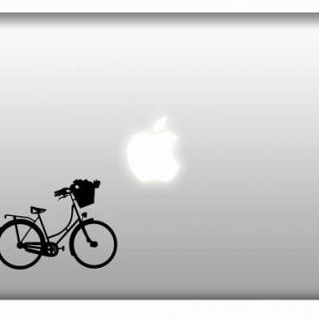 Vintage Bicycle flower basket stickers macbook vinyl decal - Ride Bike
