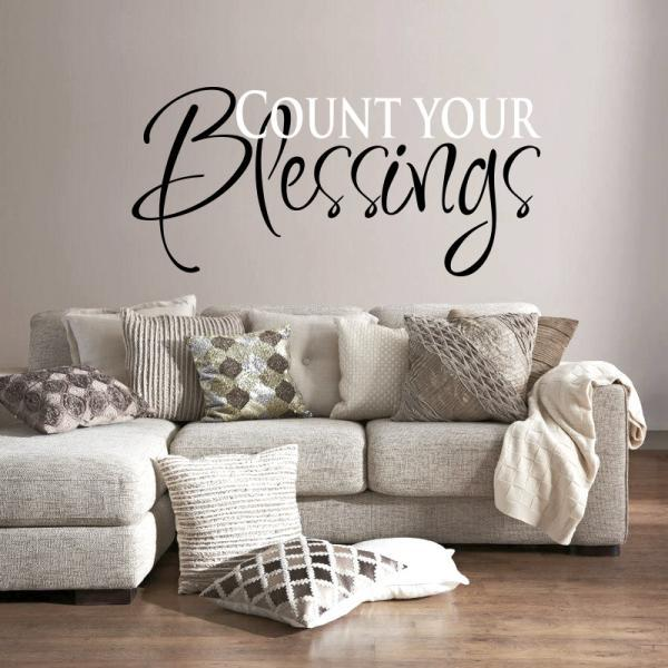 Wall Decal Quotes -  Count your Blessings...art sticker for wall, vinyl decal, art quote, living room sticker, custom wll decal